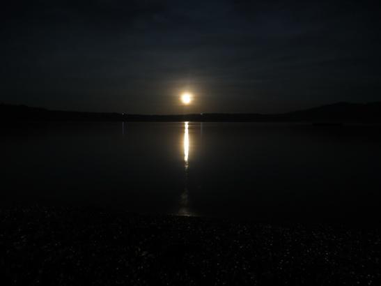 Laguna de Apoyo view from Hostel Paradiso of a full moon rising